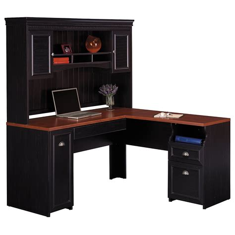 black stained oak wood office computer desk with hutch and shelves using brown eased edge