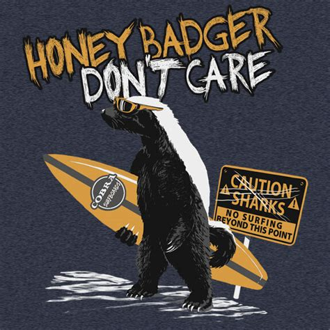 mens honey badger dont care surf  shirt heather blue