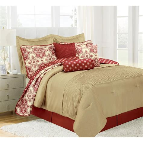 10 piece queen comforter set patina red queen microfiber 10 piece comforter set