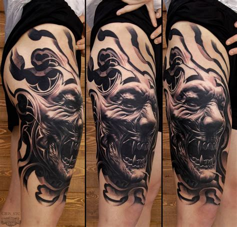 realism tattoo realistic black and grey thigh from cris sake