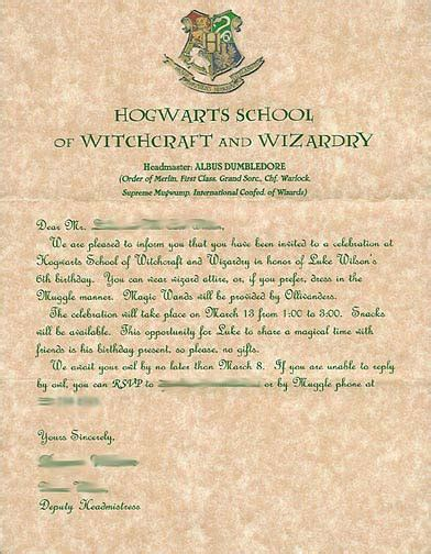 Hogwarts Acceptance Letter Fill In Harry Potter The Best Birthday
