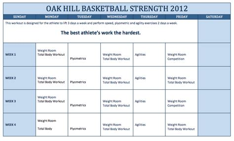 Basketball Workout Pdf Eoua Blog Speed And Agility Program Template