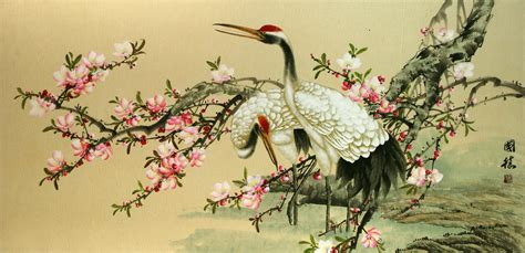 large asian cranes and blossoms painting birds amp flowers