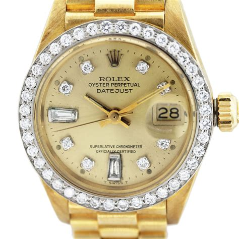 golden rolex rolex datejust 6917 presidential 18k gold and