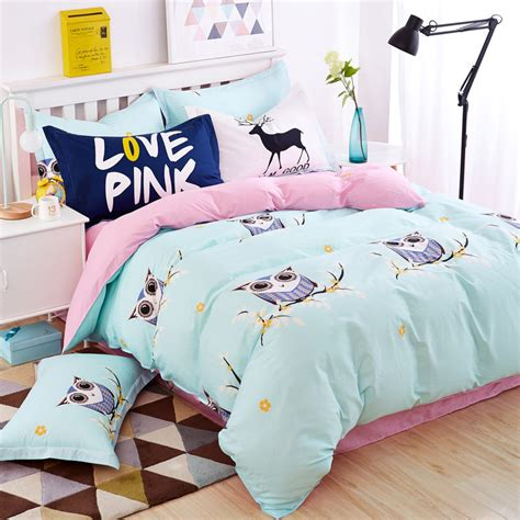queen size car bed blue owl girls boys bedding set bright color fish horse