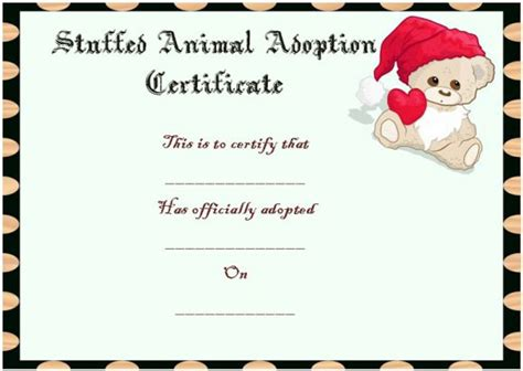 printable animal adoption certificate toy adoption certificate template 13 free word