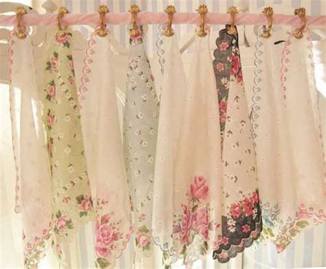 shabby chic curtain ideas idea for shabby chic curtain topper using hankerchiefs