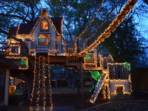 christmas tree house a magical tree house lights up for christmas eclectic