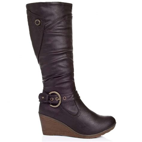 high heel brown leather boots buy berlin wedge heel knee high biker boots brown