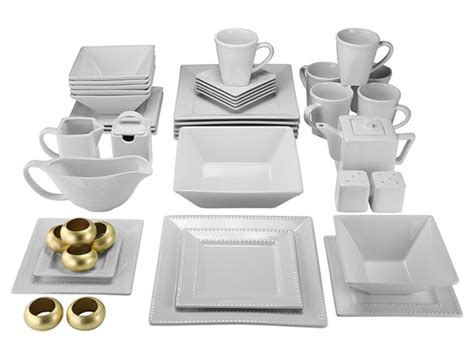white beaded dinnerware set 45 pc square beaded dinnerware set white