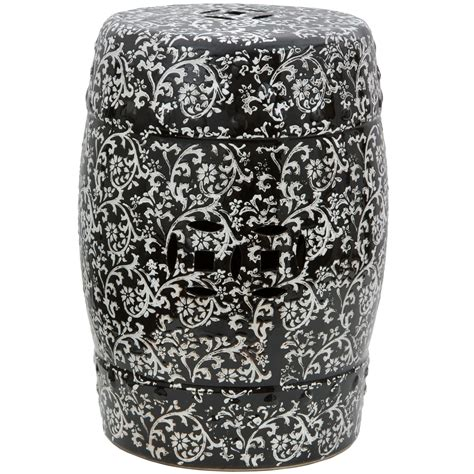 Black And White Garden Stool by Furniture 18 Quot Black White Floral Porcelain