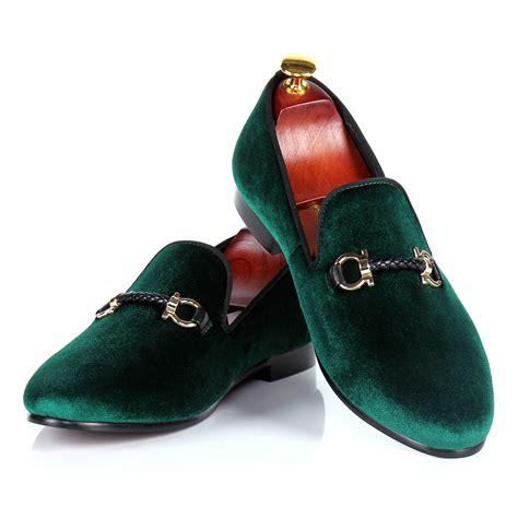 green dress shoes aliexpress buy mens dress shoes green velvet loafers