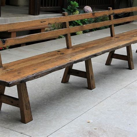 long bench with back custom made live edge barnwood bench with back rest 15 long by intelligent design