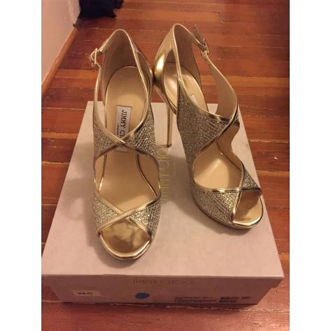 Looks Gorgeous As Usual In Jimmy Choo Bias Leather Heels by Jimmy Choo Gold Leondra Sandals Size Us 8 5 Regular M B