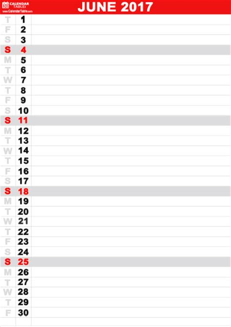 printable calendar vertical 2017 free printable june 2017 calendar calendartable com