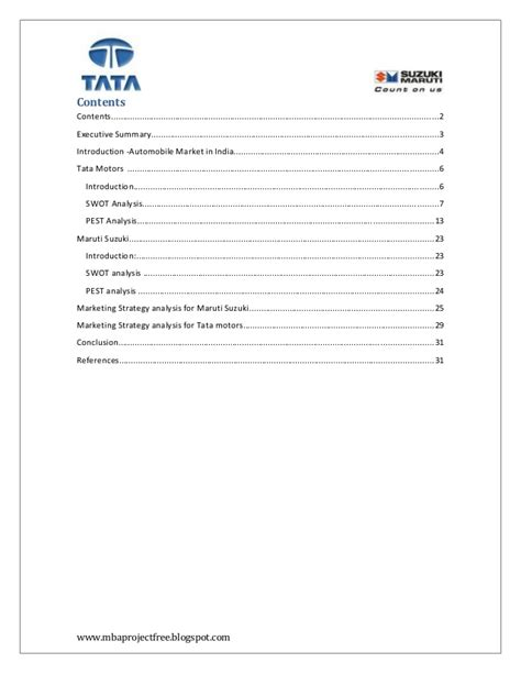Mba Project Report Maruti Suzuki Pdf by A Project Report On Competitor Analysis Of Tata Motors