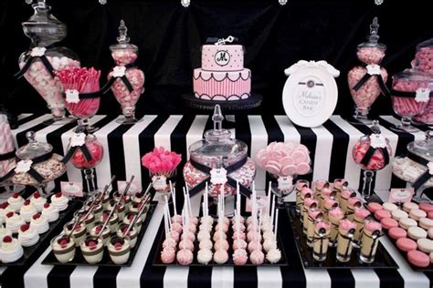 Pink Black White Guest Dessert Feature Amy Atlas Events Pink And Black Buffet