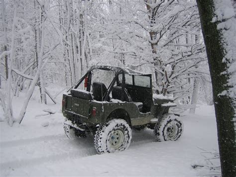 Jeep In The Snow Willys Jeep Cj 2a In The Snow