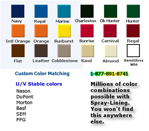 rhino liner color chart bed liner paint colors images