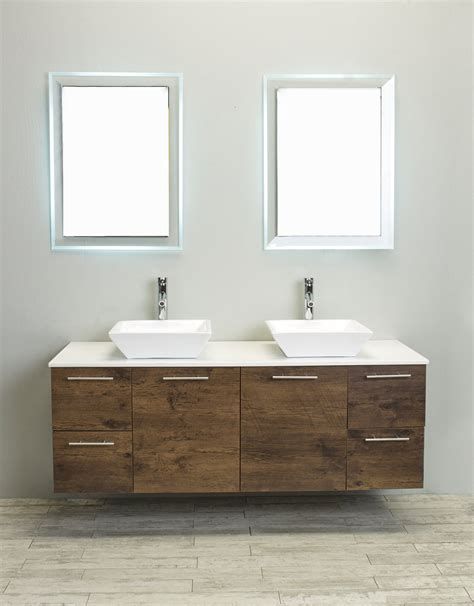 wall bathroom vanity accanto contemporary wall mounted 60 inch rosewood