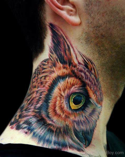 owl neck tattoo neck tattoos designs pictures page 12