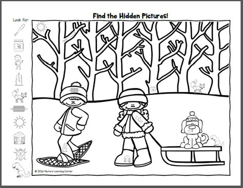 snowman hidden pictures printable find it winter hidden picture worksheets mamas learning