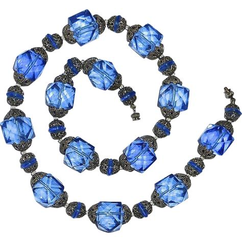 vintage glass bead necklace antique faceted blue glass bead necklace sold on