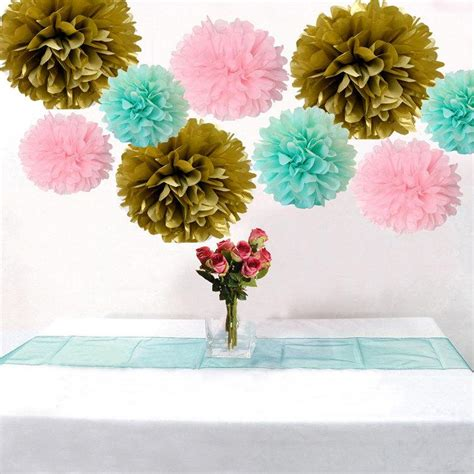 9pcs mixed mint pink gold diy tissue paper flower pom poms