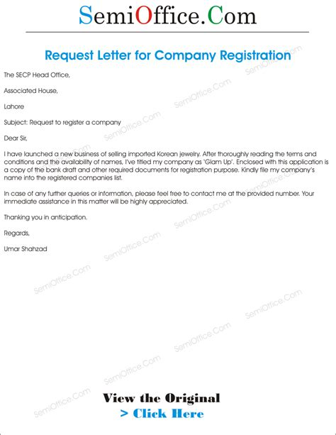 Application Letter To A Company Application For Company Registration