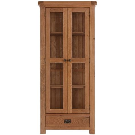 emporium home montreux solid oak glazed display cabinet