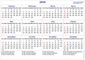 2018 Calendar With Holidays 2018 Calendar Printable Calendar 2018 Calendar In