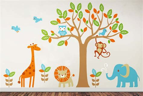 children wall sticker 6 safari playland leafy dreams nursery decals removable