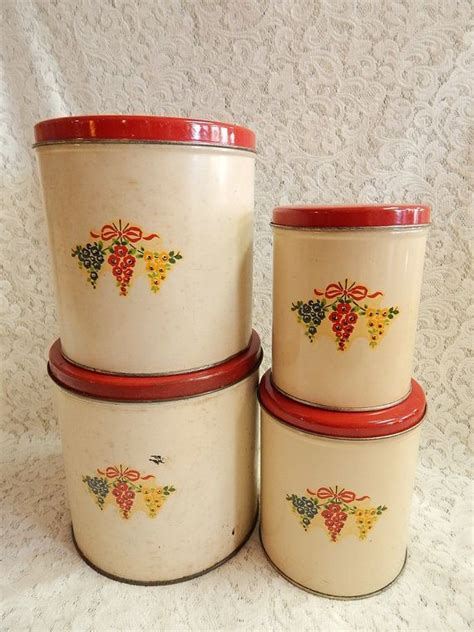 vintage cream and pink kitchen canister set 4 by whitepicket 17 best images about flour sugar coffee tea on