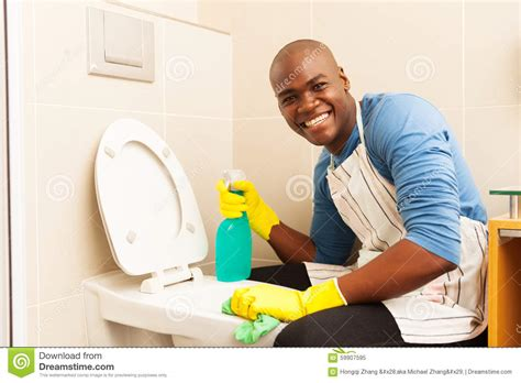 man cleaning bathroom man cleaning toilet stock image image of duties domestic 59907595