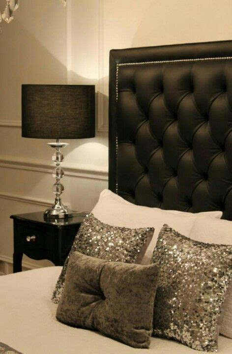 silver black bedroom black tufted head board with white and silver accents