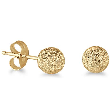 Gold Stud Earrings 14k yellow gold 5mm laser cut stud earrings jet