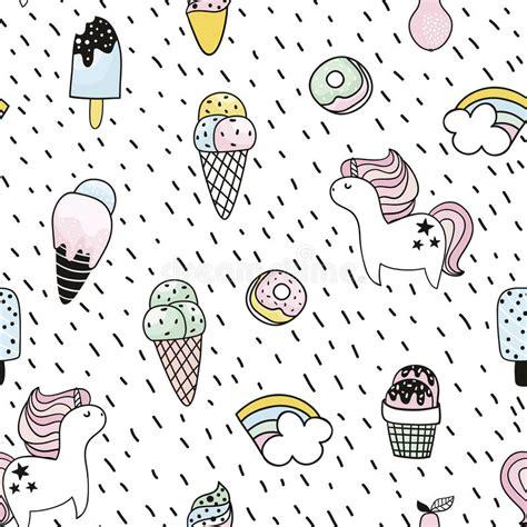 doodle coreldraw kreatywnie bezszwowy wz 243 r z jednorożec pączek lody