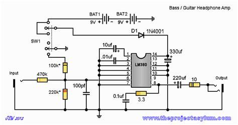 bass guitar headphone schematic circuit diagram