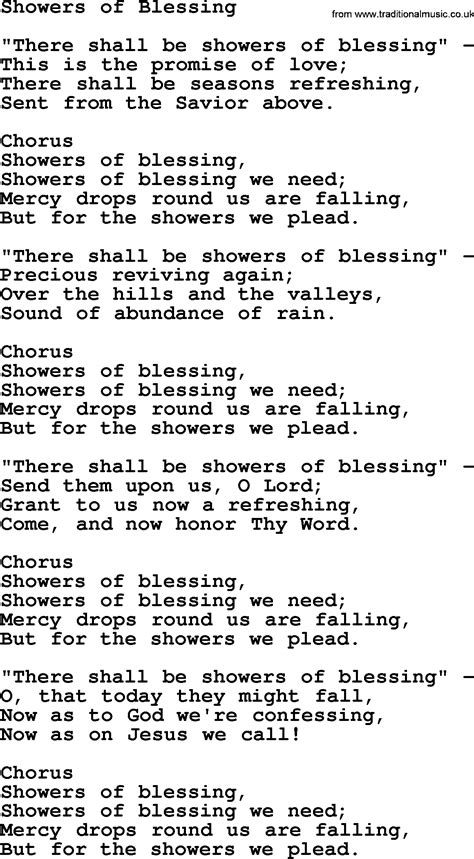 Showers Of Blessings Lyrics by Baptist Hymnal Christian Song Showers Of Blessing