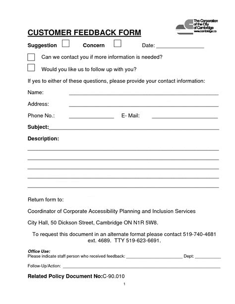 Property Tax Assessment Card Template by Customer Contact Form Customer Feedback Form Pdf