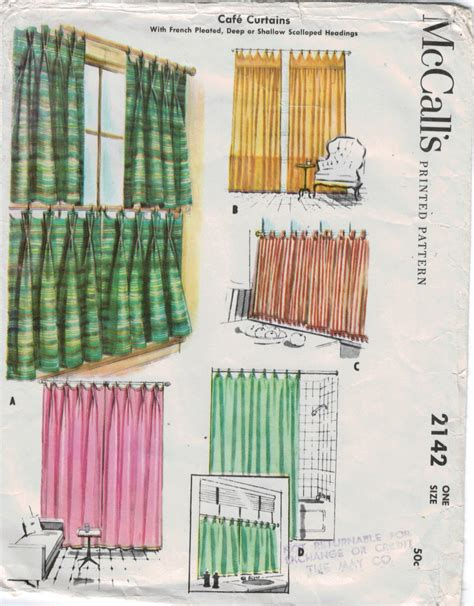 curtain sewing pattern mccalls pattern 2142 cafe curtains french pleated deep