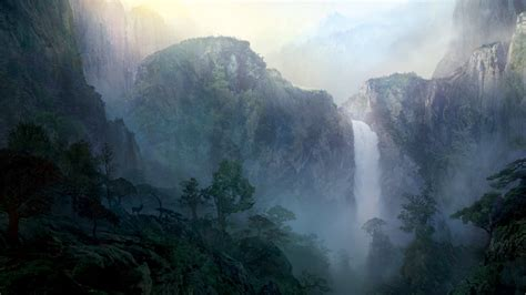 wallpaper mac forest 1920x1080 mist mountains waterfall trees desktop pc and
