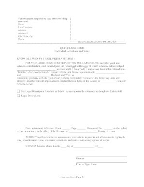 free printable quit claim deed form arizona free joint tenancy deed form fill online printable