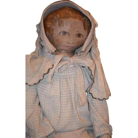 L 6544 Fashion by Antique Doll Cloth Painted Large Rag Doll Folk