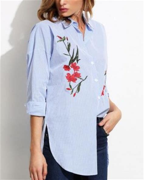 Kemeja Wanita White Floral Embroidered Shirt Size M 421362 flower embroidered shirt for blue and white striped shirts tshirtxy