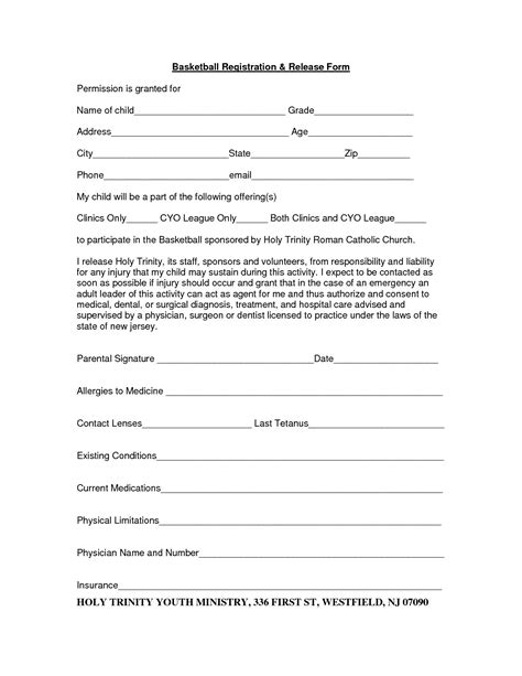 c registration form template word pin basketball registration form on