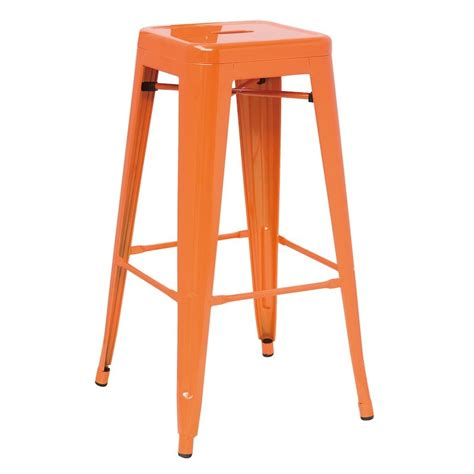 Orange Bar Stools For Sale by Detroit Modern Orange Metal Barstool Set Of 4
