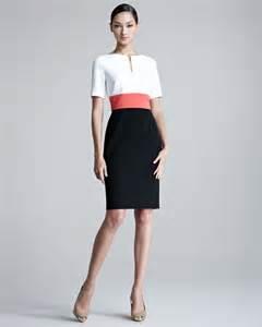 escada danusia colorblock colorblock dress in white lyst