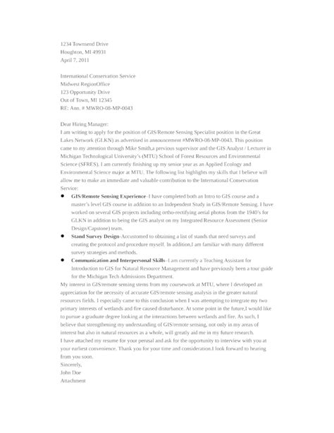 Gis Analyst Cover Letter by Basic Gis Specialist Cover Letter Sles And Templates