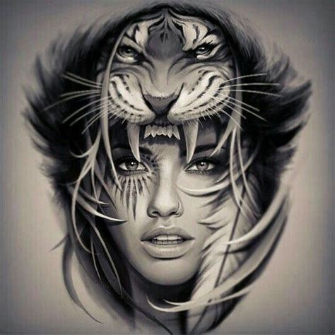 korn pretty meaning tiger head native girl tattoo design